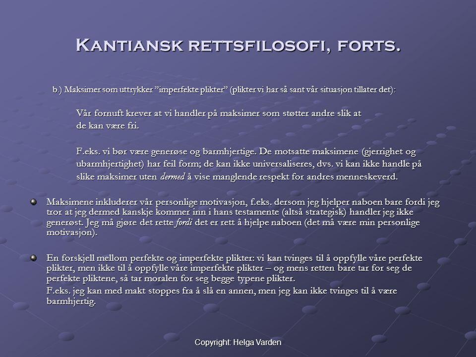 Kantiansk rettsfilosofi, forts.