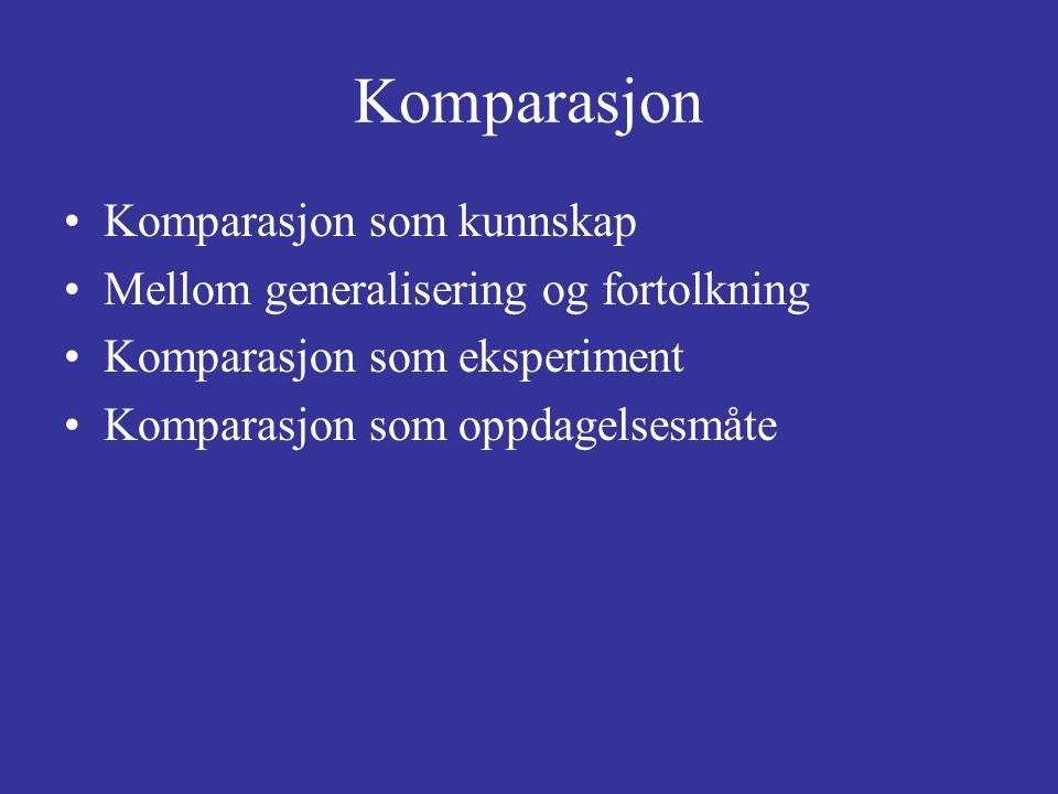 Komparasjon Komparasjon som kunnskap