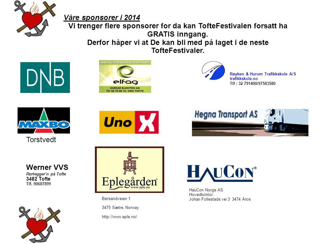Derfor håper vi at De kan bli med på laget i de neste TofteFestivaler.