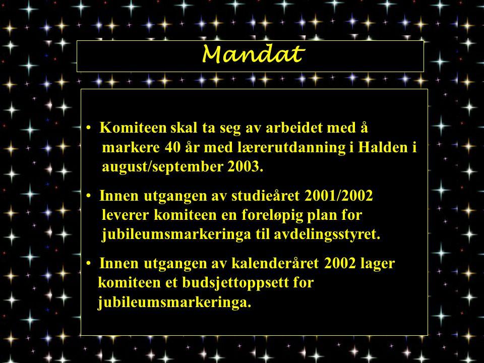 Mandat Komiteen skal ta seg av arbeidet med å markere 40 år med lærerutdanning i Halden i august/september 2003.