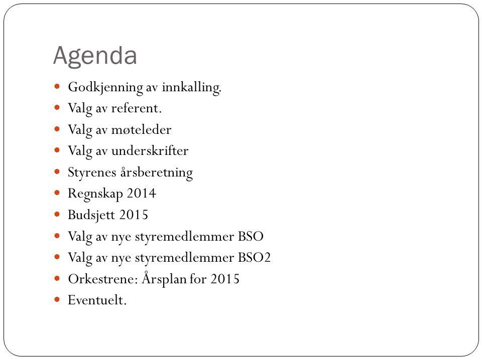 Agenda Godkjenning av innkalling. Valg av referent. Valg av møteleder