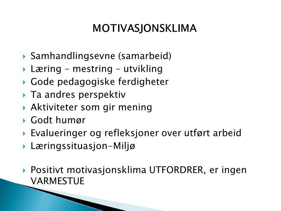 MOTIVASJONSKLIMA Samhandlingsevne (samarbeid)