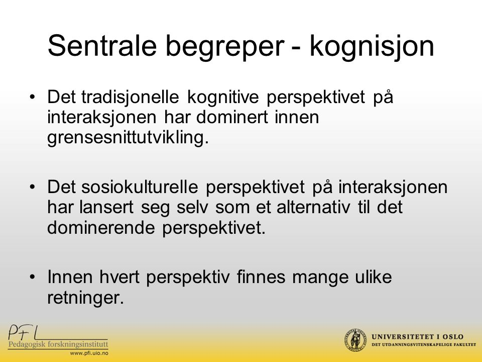 Sentrale begreper - kognisjon