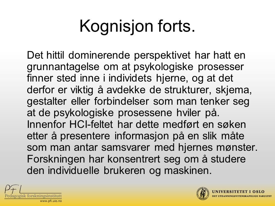 Kognisjon forts.