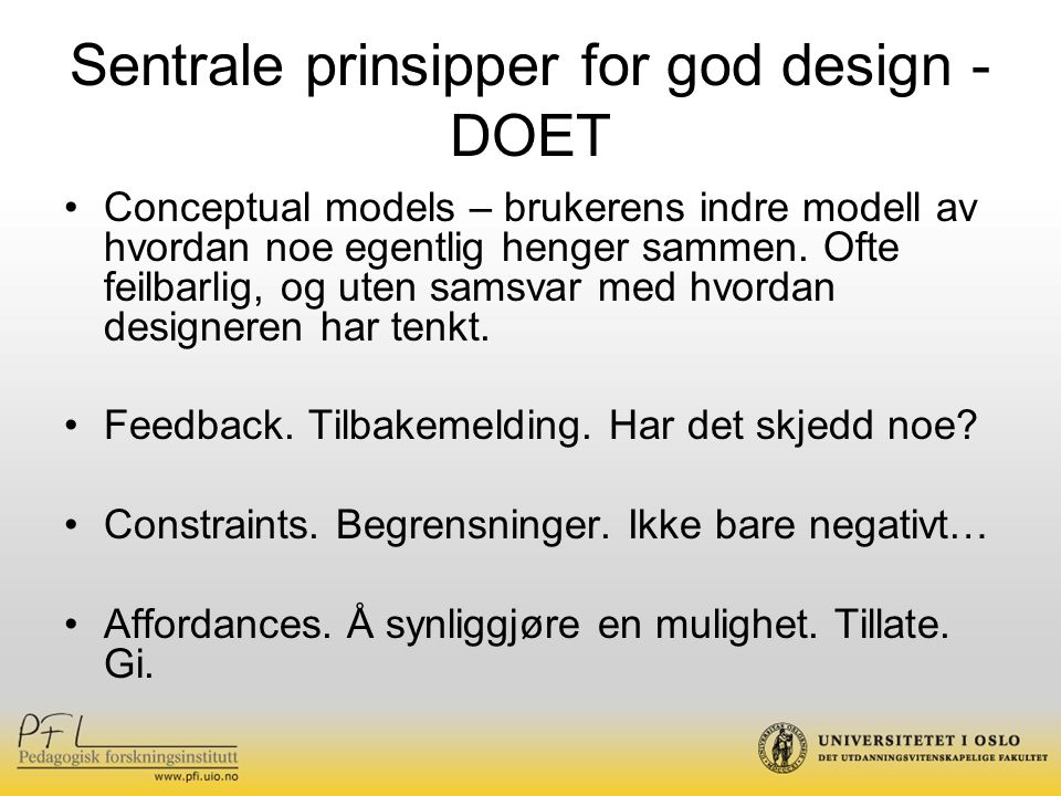 Sentrale prinsipper for god design - DOET