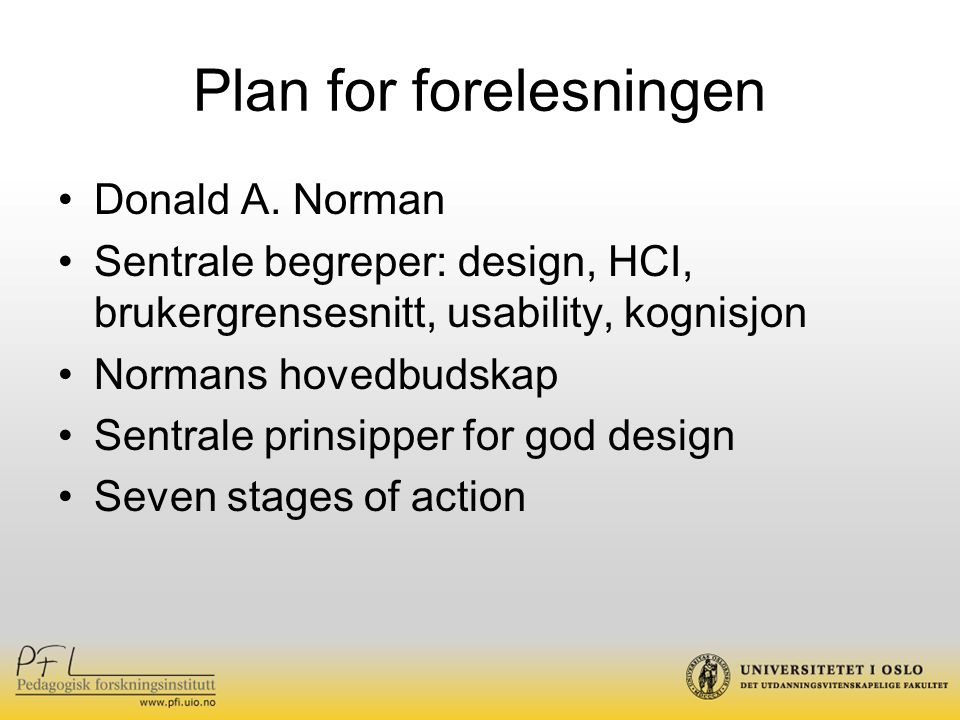 Plan for forelesningen