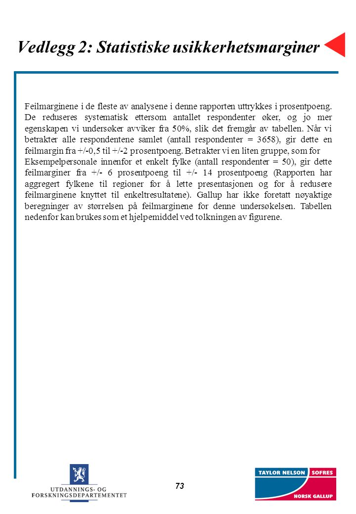 Vedlegg 2: Statistiske usikkerhetsmarginer