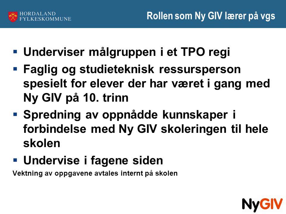 Rollen som Ny GIV lærer på vgs