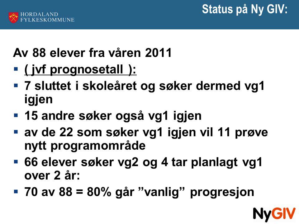 Status på Ny GIV: Av 88 elever fra våren 2011. ( jvf prognosetall ): 7 sluttet i skoleåret og søker dermed vg1 igjen.