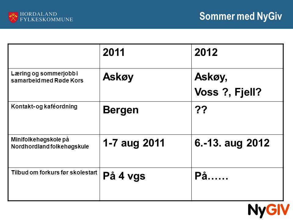 Sommer med NyGiv 2011 2012 Askøy Askøy, Voss , Fjell Bergen