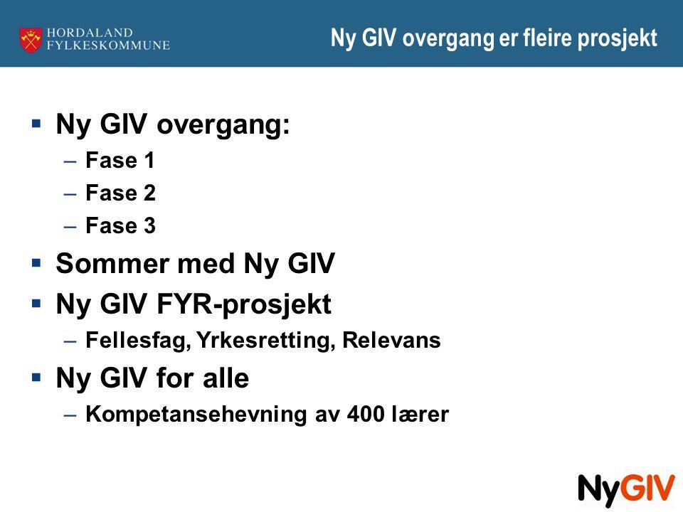 Ny GIV overgang er fleire prosjekt