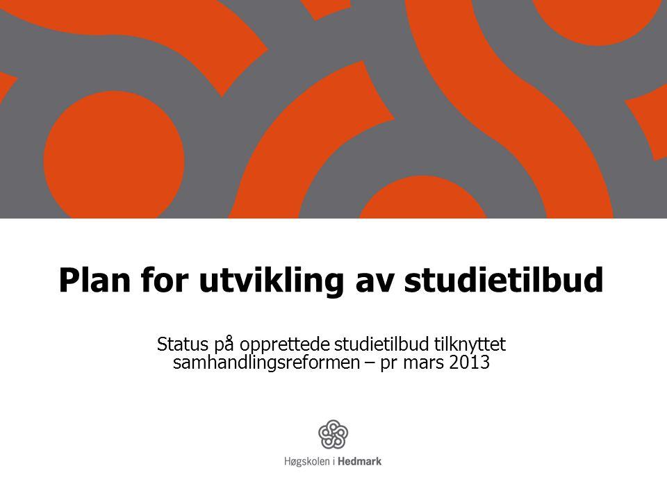 Plan for utvikling av studietilbud