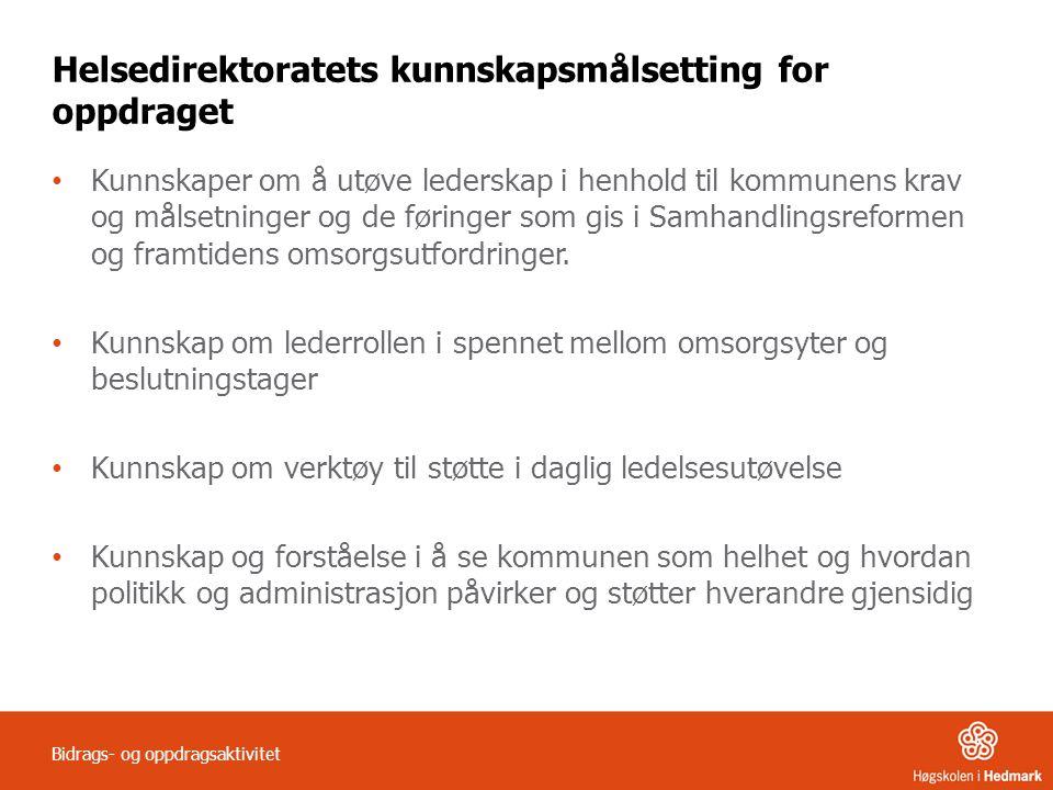 Helsedirektoratets kunnskapsmålsetting for oppdraget