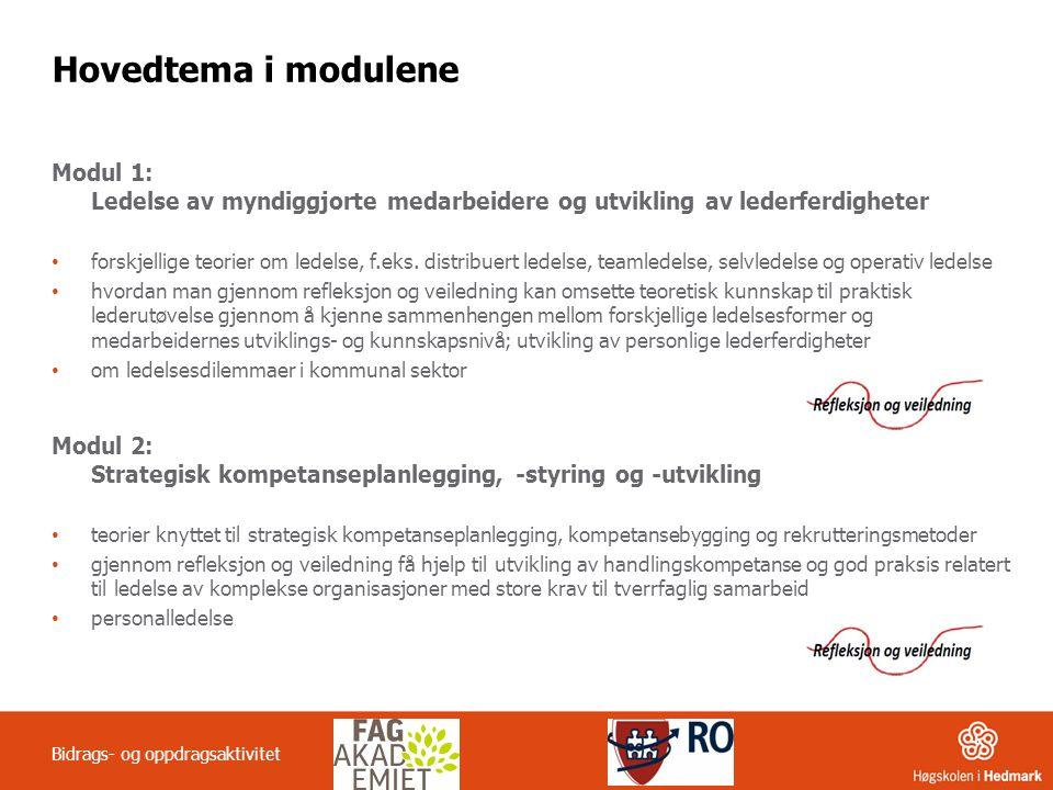 Hovedtema i modulene Modul 1: Ledelse av myndiggjorte medarbeidere og utvikling av lederferdigheter.