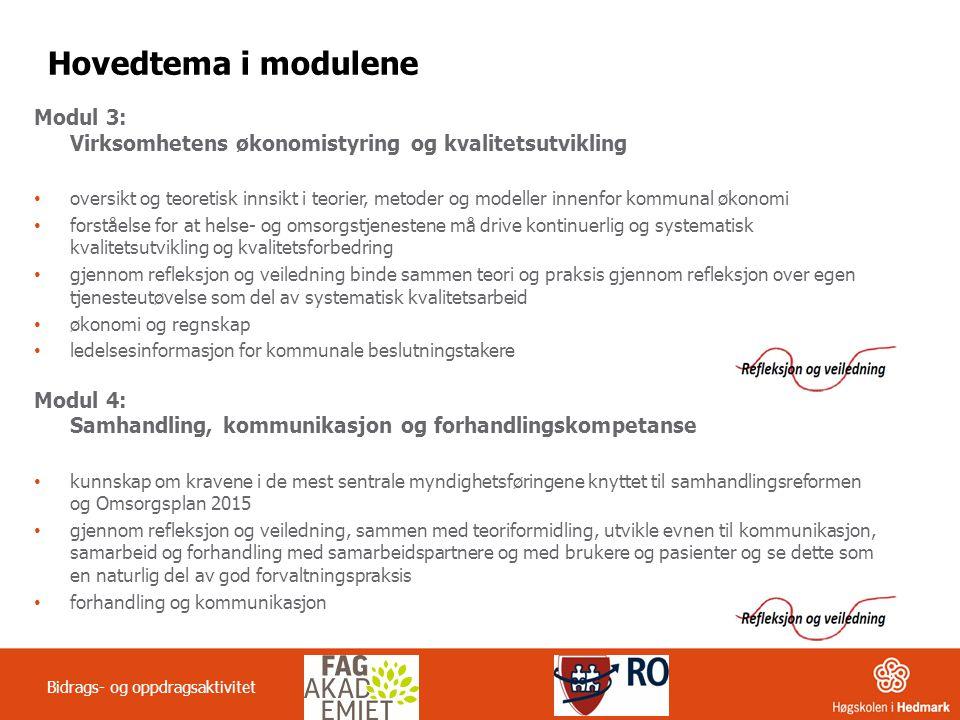 Hovedtema i modulene Modul 3: Virksomhetens økonomistyring og kvalitetsutvikling.