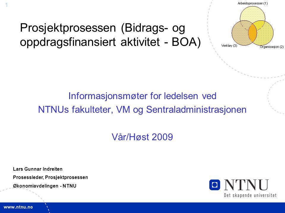 Prosjektprosessen (Bidrags- og oppdragsfinansiert aktivitet - BOA)
