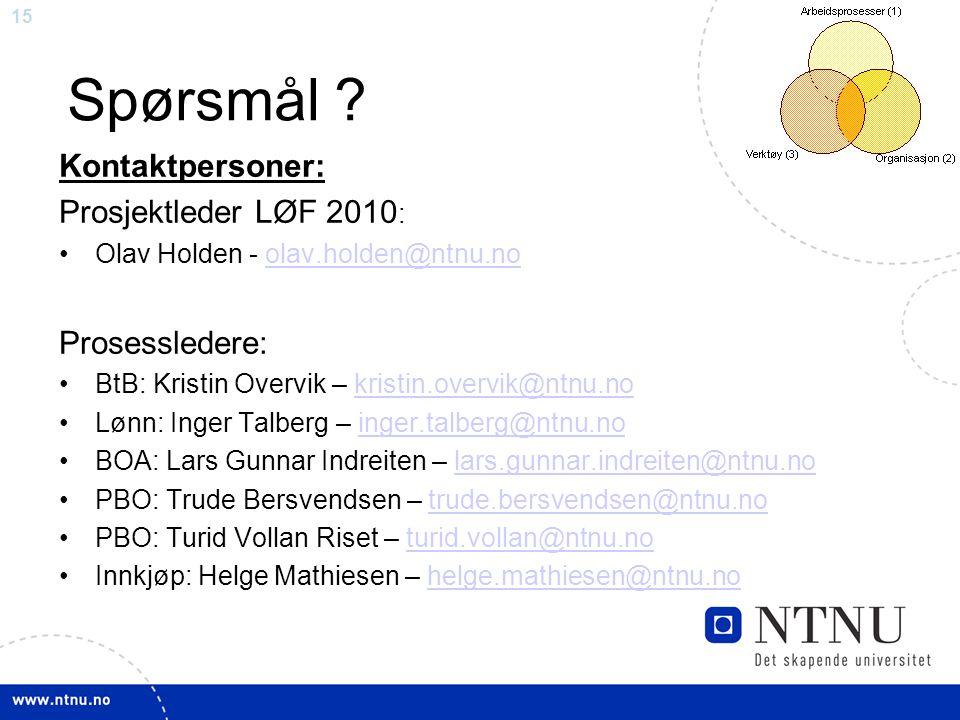 Spørsmål Kontaktpersoner: Prosjektleder LØF 2010: Prosessledere: