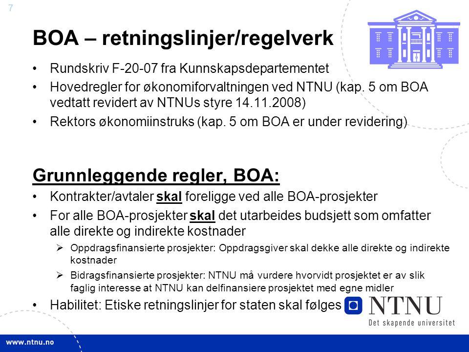 BOA – retningslinjer/regelverk