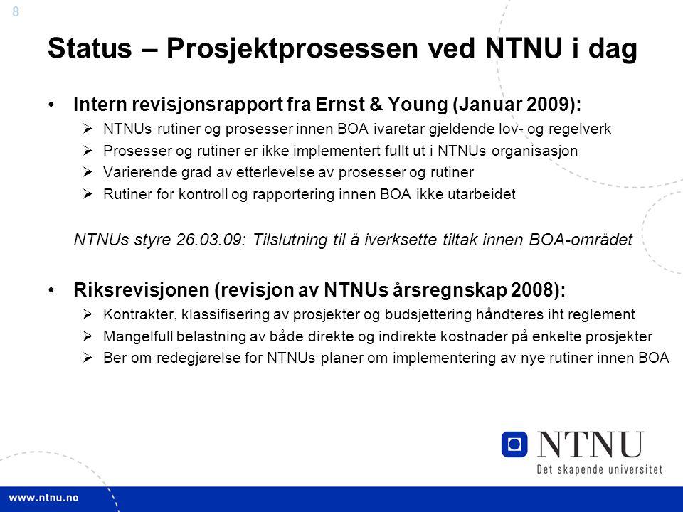 Status – Prosjektprosessen ved NTNU i dag