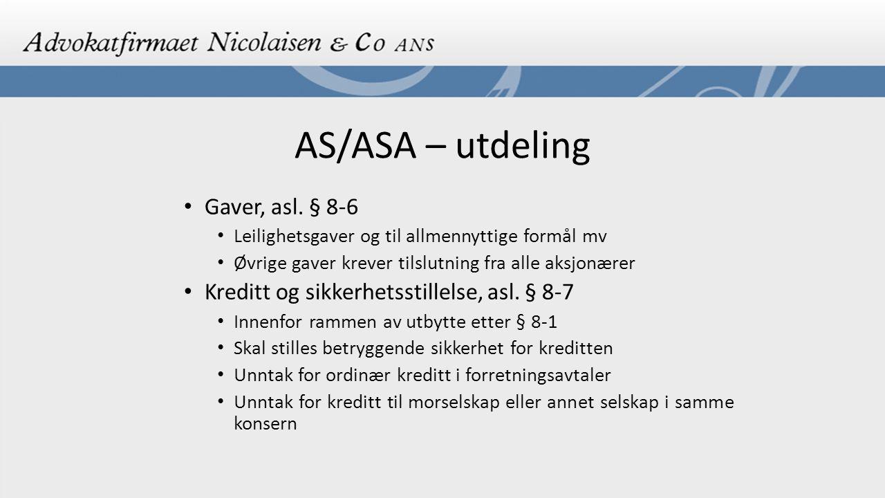 AS/ASA – utdeling Gaver, asl. § 8-6
