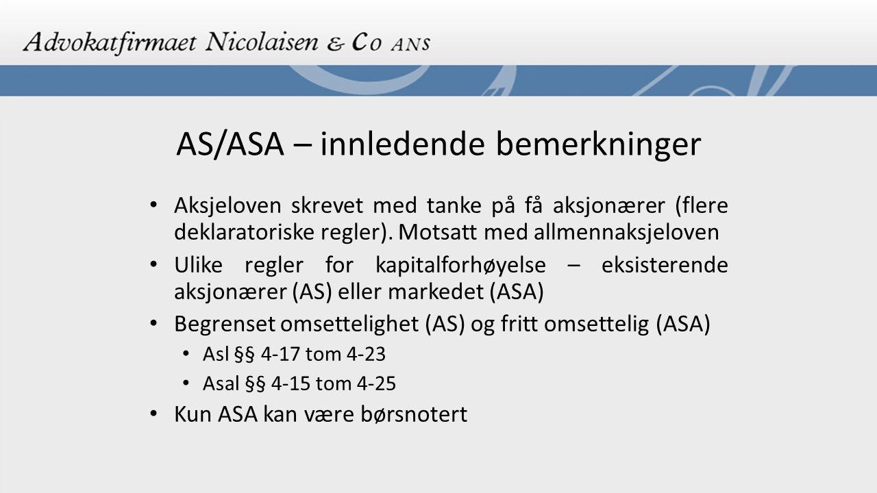 AS/ASA – innledende bemerkninger