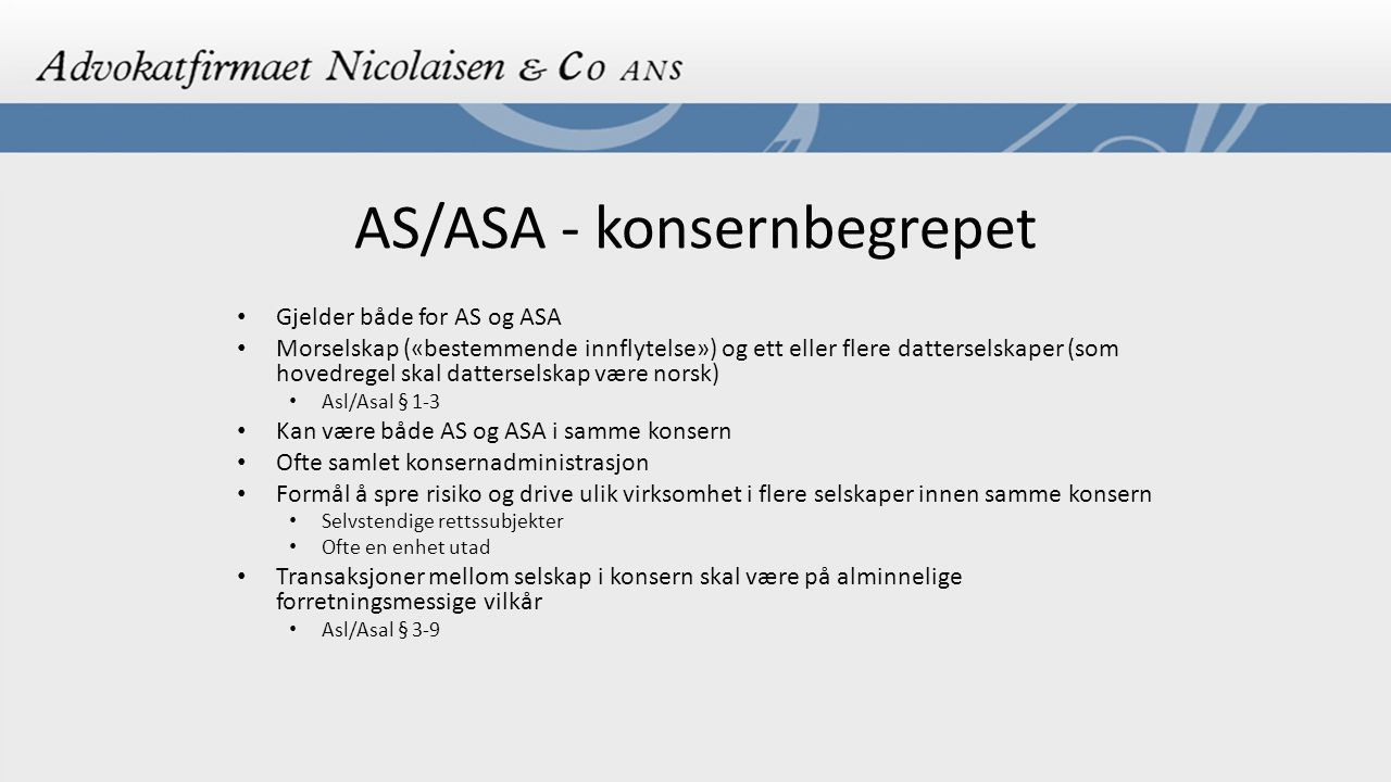AS/ASA - konsernbegrepet
