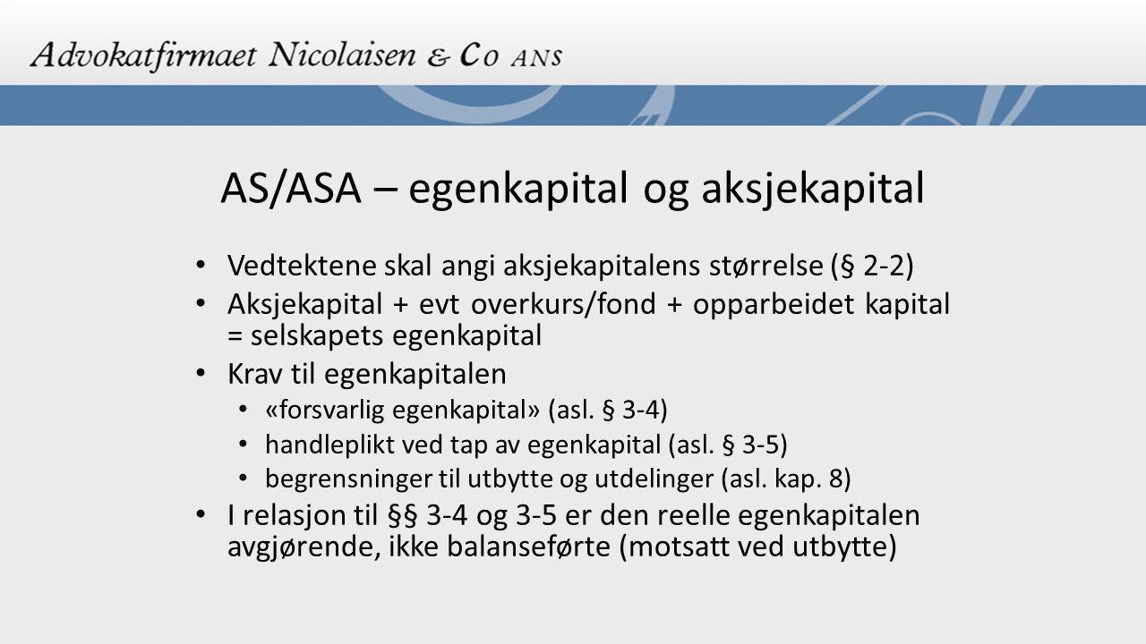 AS/ASA – egenkapital og aksjekapital