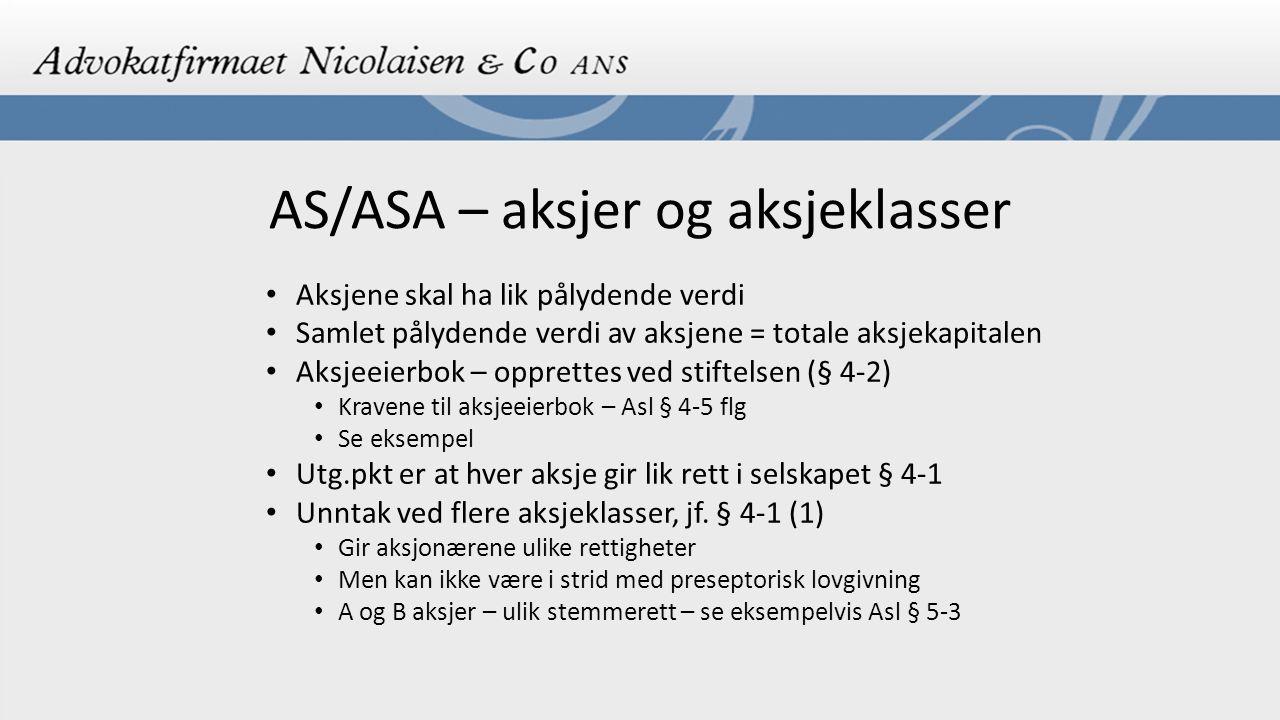 AS/ASA – aksjer og aksjeklasser