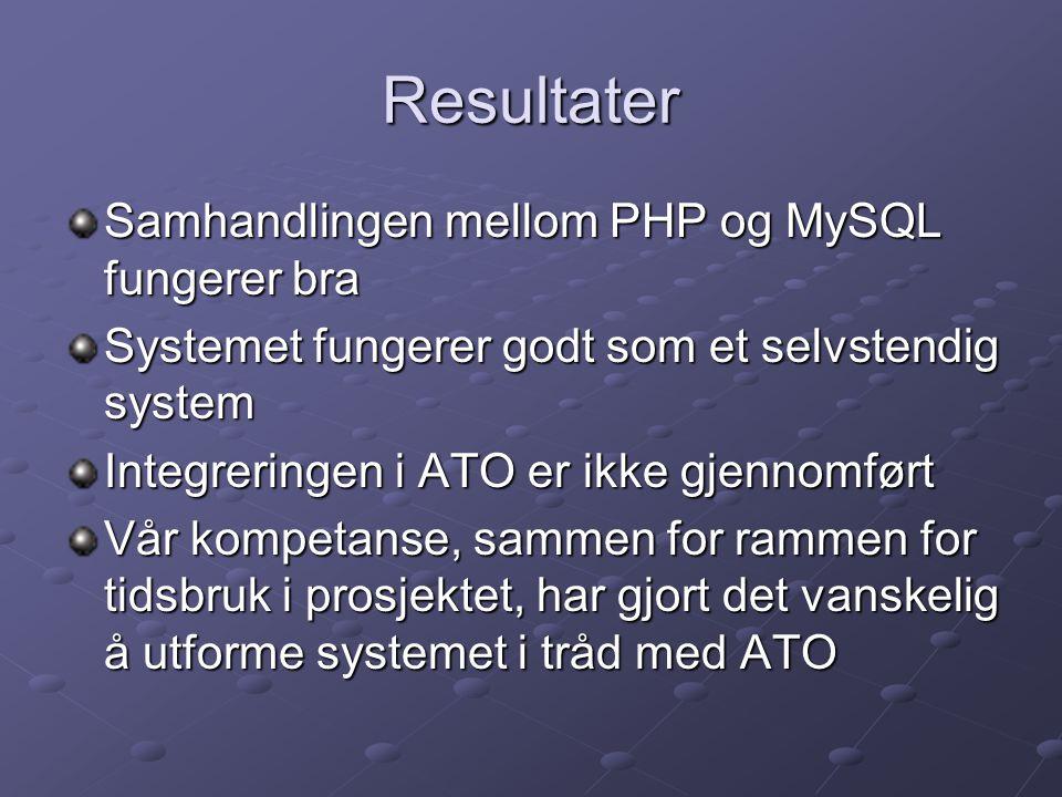 Resultater Samhandlingen mellom PHP og MySQL fungerer bra