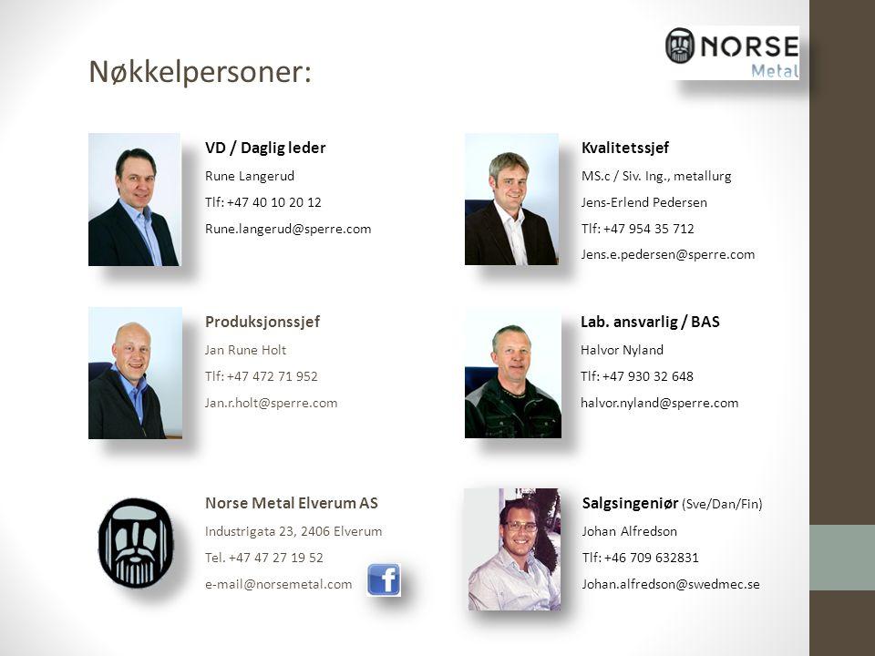 Nøkkelpersoner: VD / Daglig leder Kvalitetssjef Produksjonssjef