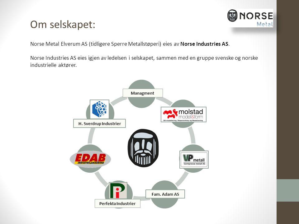 Om selskapet: Norse Metal Elverum AS (tidligere Sperre Metallstøperi) eies av Norse Industries AS.