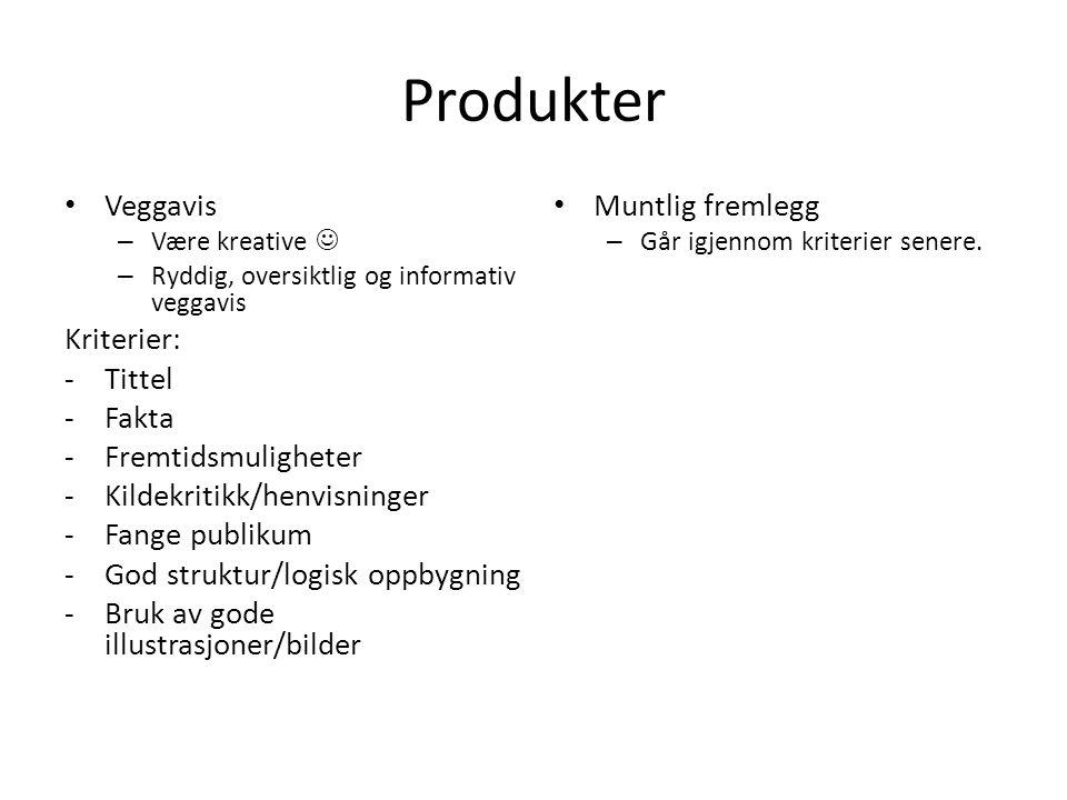 Produkter Veggavis Kriterier: Tittel Fakta Fremtidsmuligheter