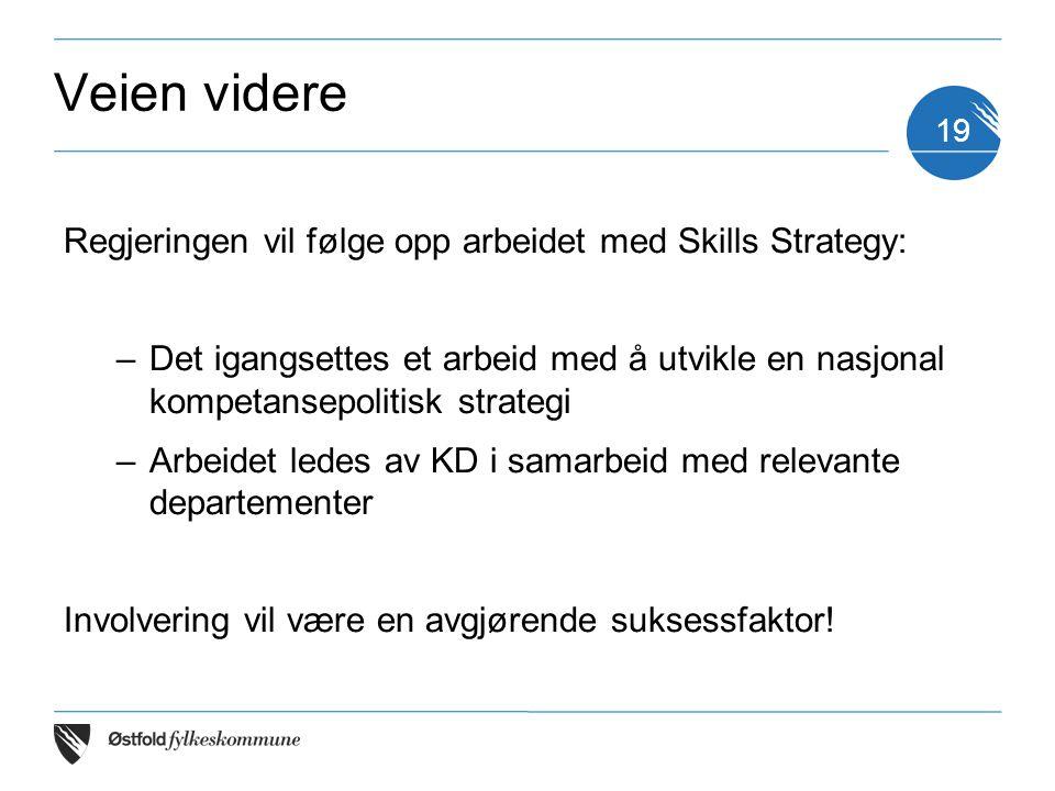 Veien videre Regjeringen vil følge opp arbeidet med Skills Strategy:
