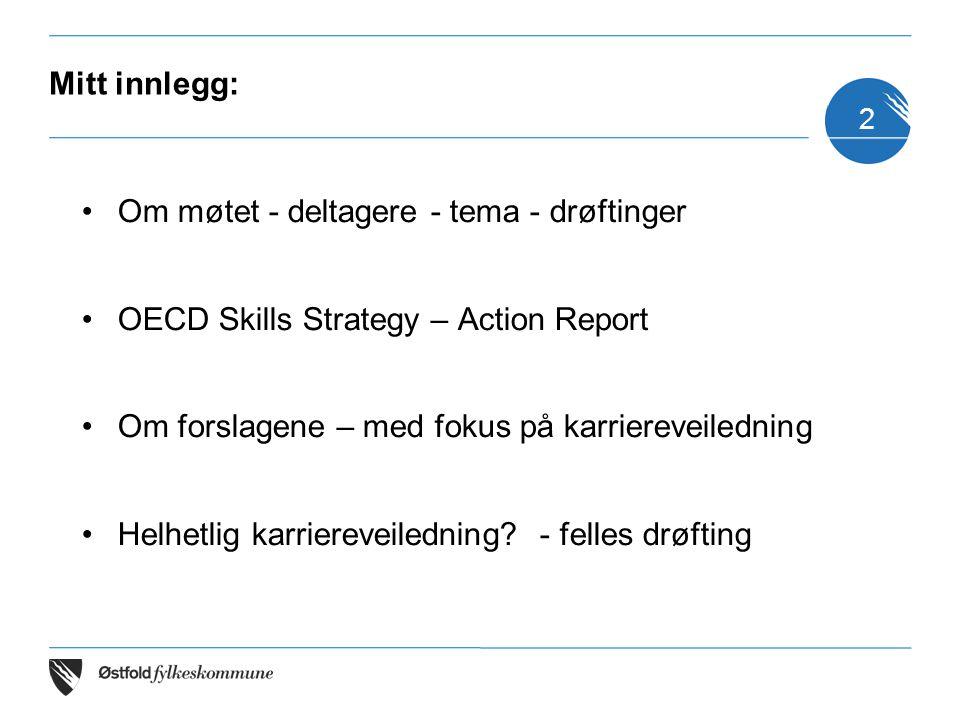Mitt innlegg: Om møtet - deltagere - tema - drøftinger. OECD Skills Strategy – Action Report. Om forslagene – med fokus på karriereveiledning.