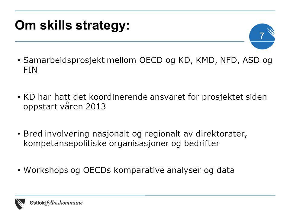 Om skills strategy: Samarbeidsprosjekt mellom OECD og KD, KMD, NFD, ASD og FIN.