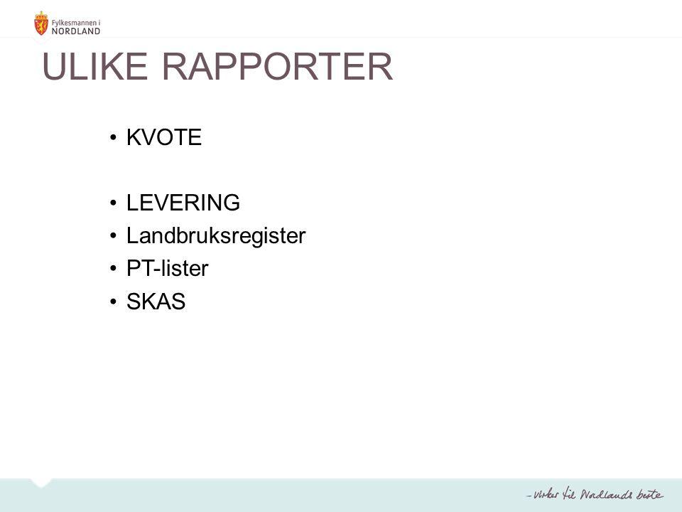 ULIKE RAPPORTER KVOTE LEVERING Landbruksregister PT-lister SKAS