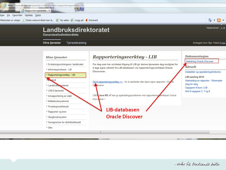 LIB-databasen Oracle Discover PT 10 –liste: