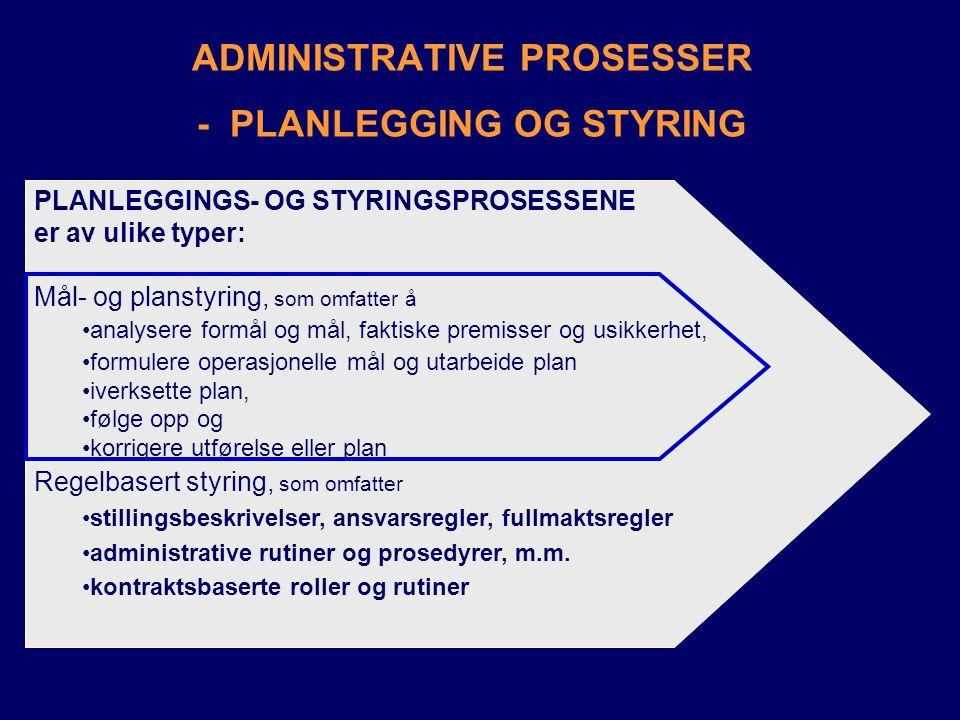 ADMINISTRATIVE PROSESSER - PLANLEGGING OG STYRING