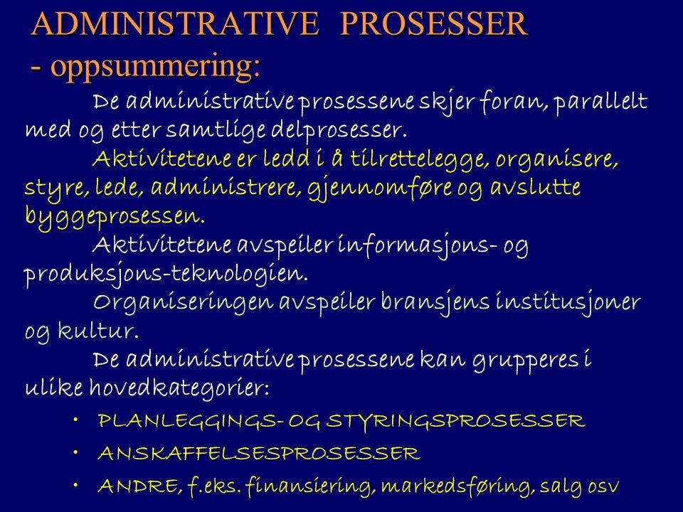 ADMINISTRATIVE PROSESSER - oppsummering: