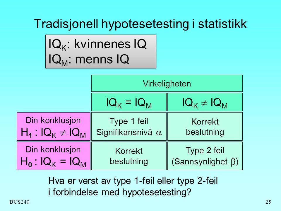 Tradisjonell hypotesetesting i statistikk