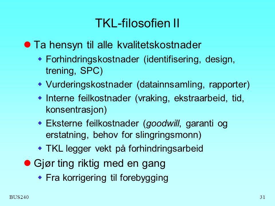 TKL-filosofien II Ta hensyn til alle kvalitetskostnader