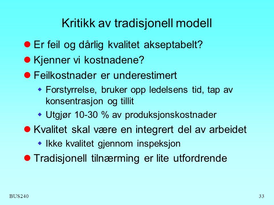 Kritikk av tradisjonell modell