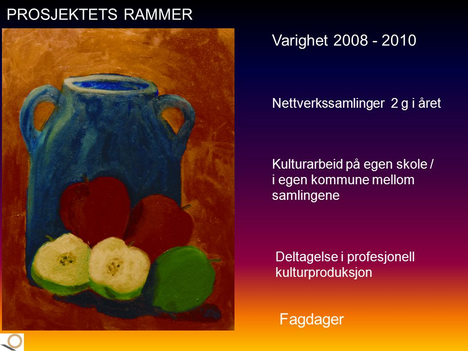 PROSJEKTETS RAMMER Varighet 2008 - 2010 Fagdager