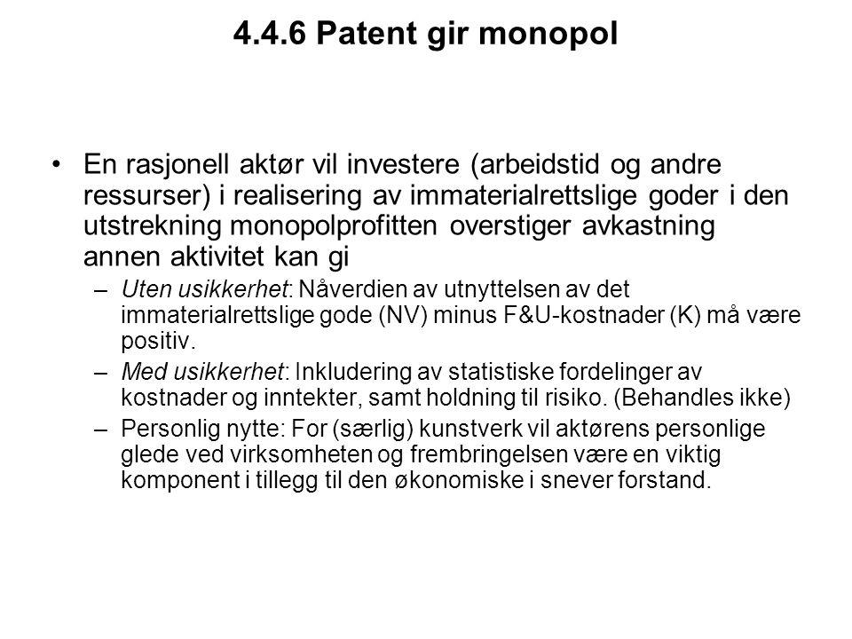 4.4.6 Patent gir monopol