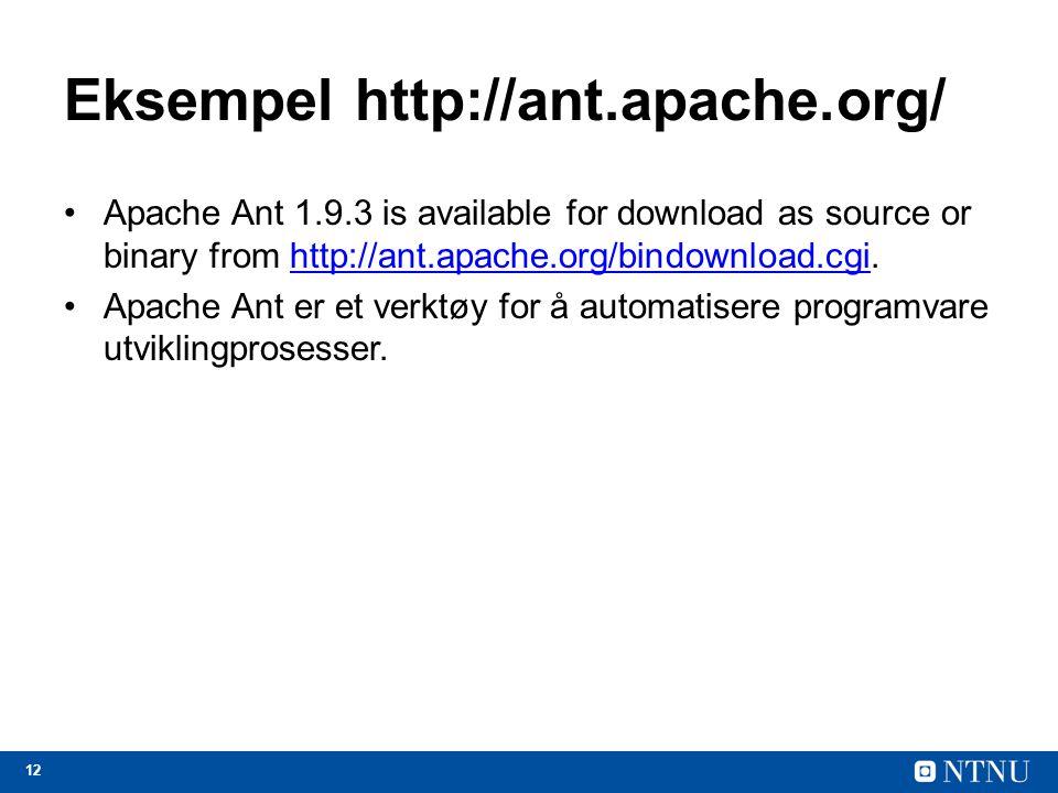 Eksempel http://ant.apache.org/