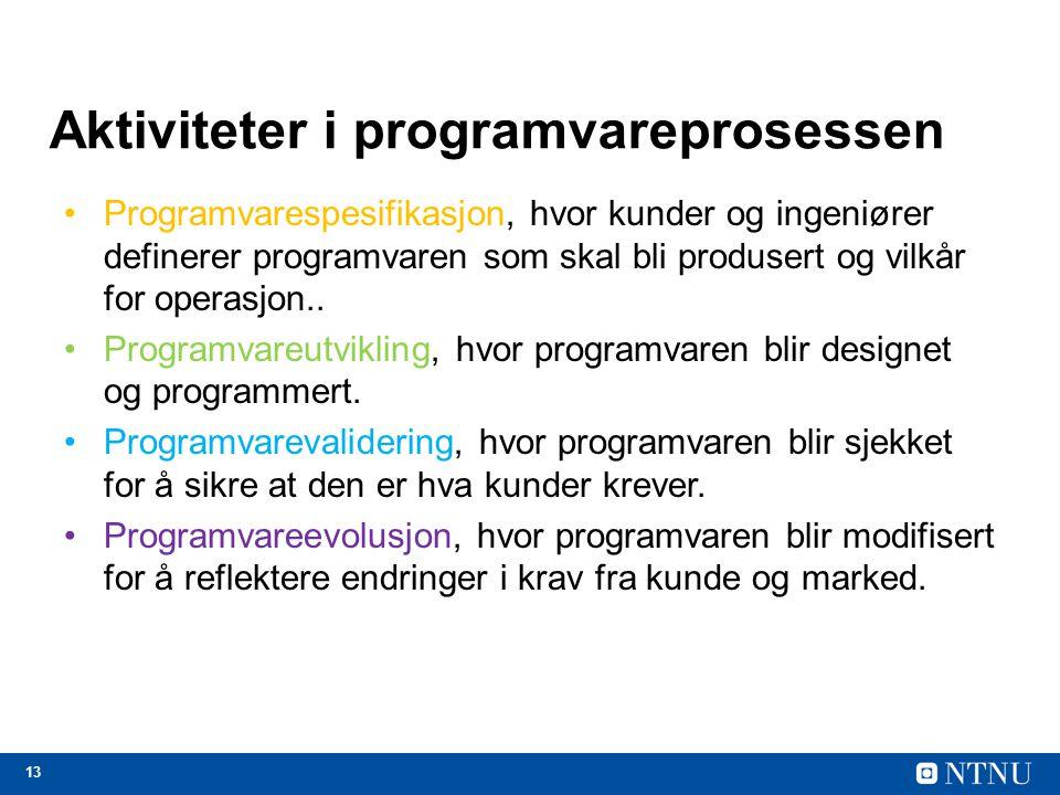 Aktiviteter i programvareprosessen