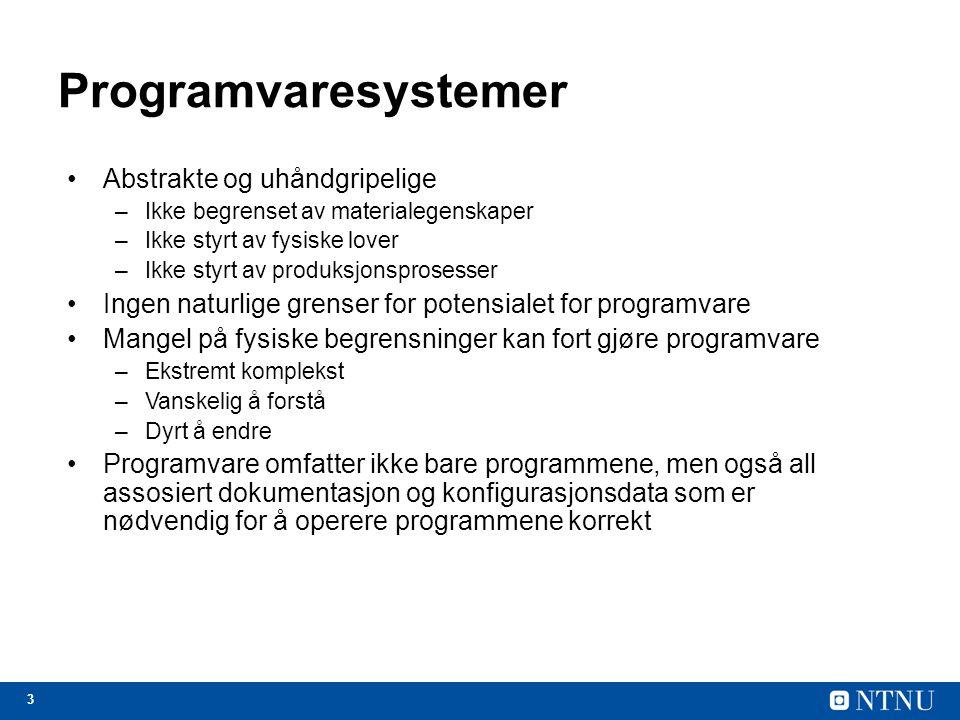 Programvaresystemer Abstrakte og uhåndgripelige