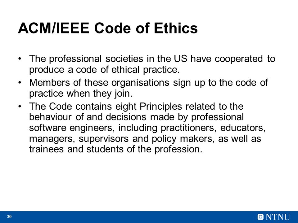 ACM/IEEE Code of Ethics