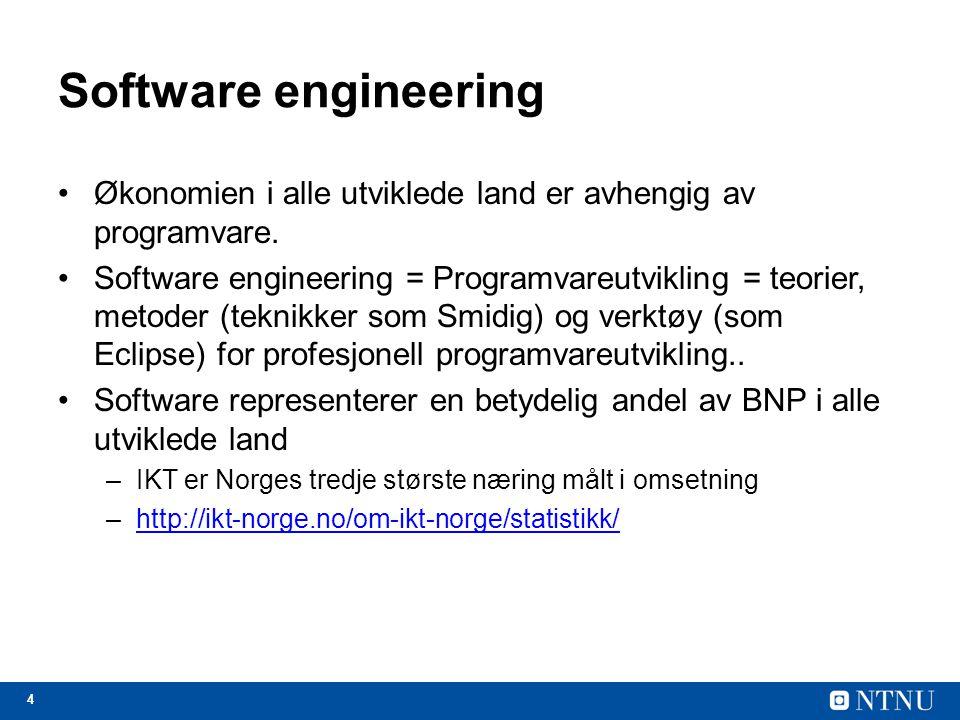Software engineering Økonomien i alle utviklede land er avhengig av programvare.