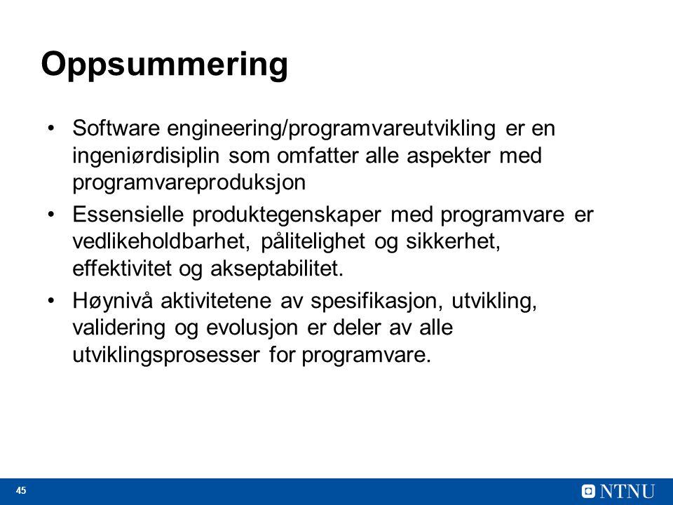 Oppsummering Software engineering/programvareutvikling er en ingeniørdisiplin som omfatter alle aspekter med programvareproduksjon.